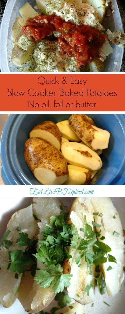 Quick & Easy Baked Potatoes No Oil Foil Butter. Crock-pot recipes makes it easy to cook wholesome food without spending all day in the kitchen.